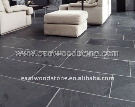 Kitchen Terrace Large Rectangular Black Slate Tiles Grout Colour
