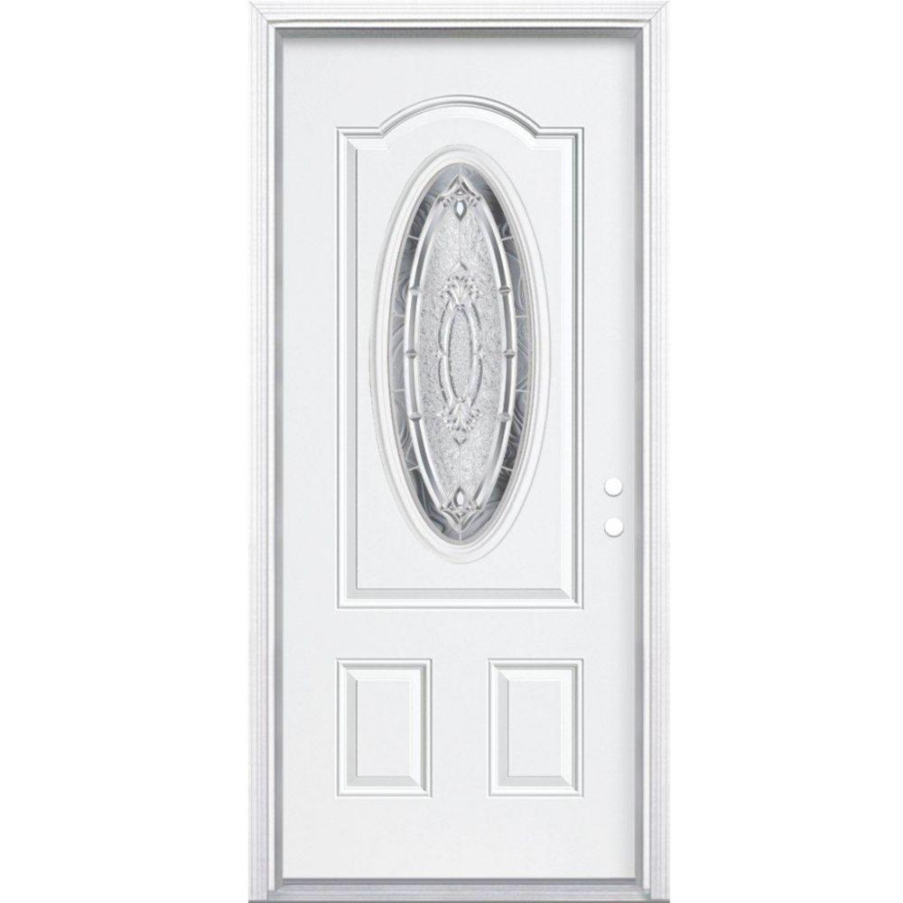 34 Inch X 80 Inch X 4 9/16 Inch Nickel 3/4 Oval Lite Left Hand Entry Door  With Brickmould