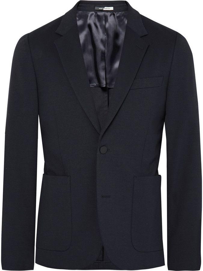 PS by Paul Smith Navy Slim-Fit Stretch Cotton-Blend Blazer | Mens ...