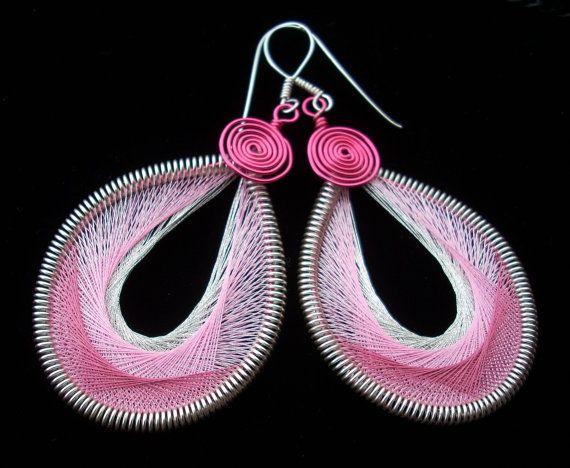 Peruvian String Art Earrings Pink and Silver by GilliansLocker, $19.00