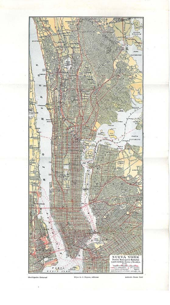 new york ciy plan vintage street map 1920s united by carambas sold