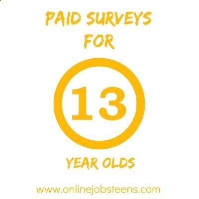 Online surveys for 13 year olds