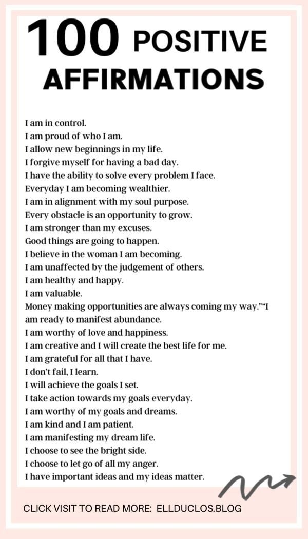 100 Positive Self Affirmations That Will Change Your Life - EllDuclos