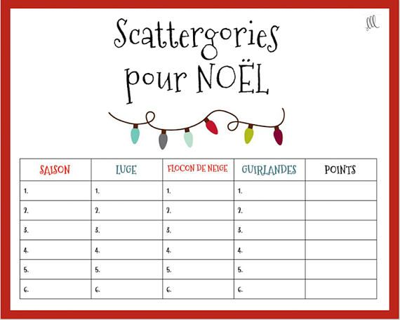 french christmas scattergories game printable download. Black Bedroom Furniture Sets. Home Design Ideas