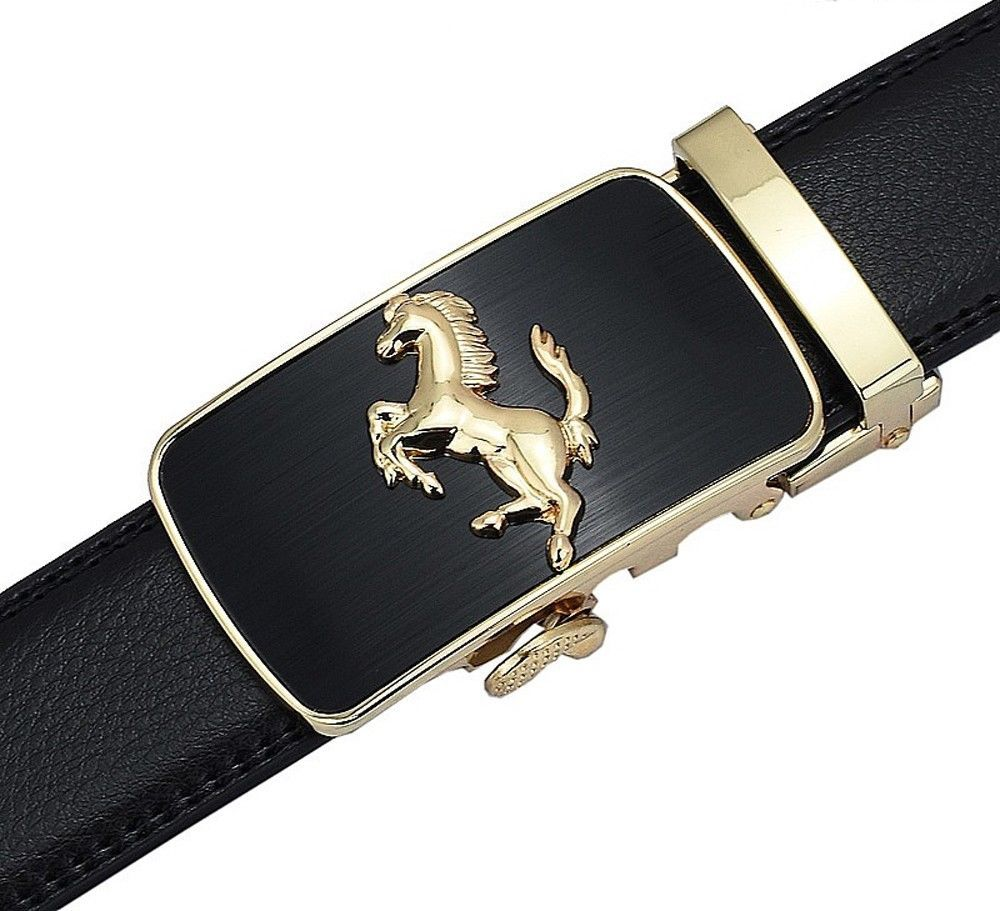 QHA Mens Antique Style Automatic Leather Belt For Men Casual Luxury Auto Buckle