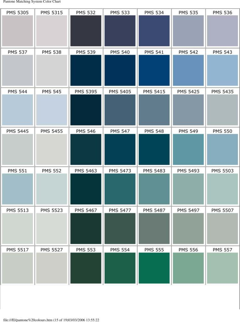 Pantone Matching System Colour Chart 2006 Pms Colours Used For