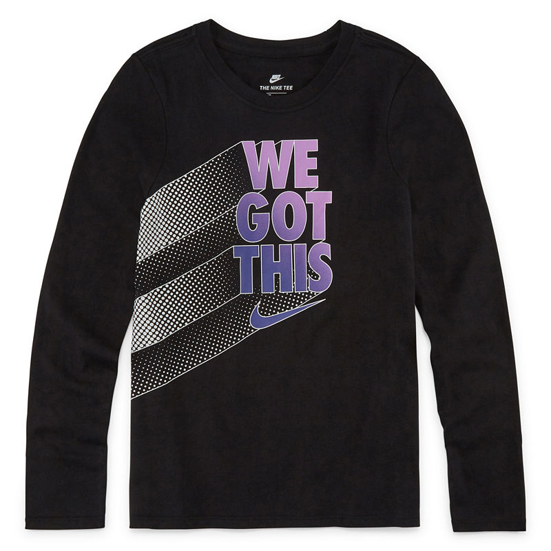 13425797 Nike Girls Crew Neck Long Sleeve T-Shirt-Big Kid | Products in 2019 ...