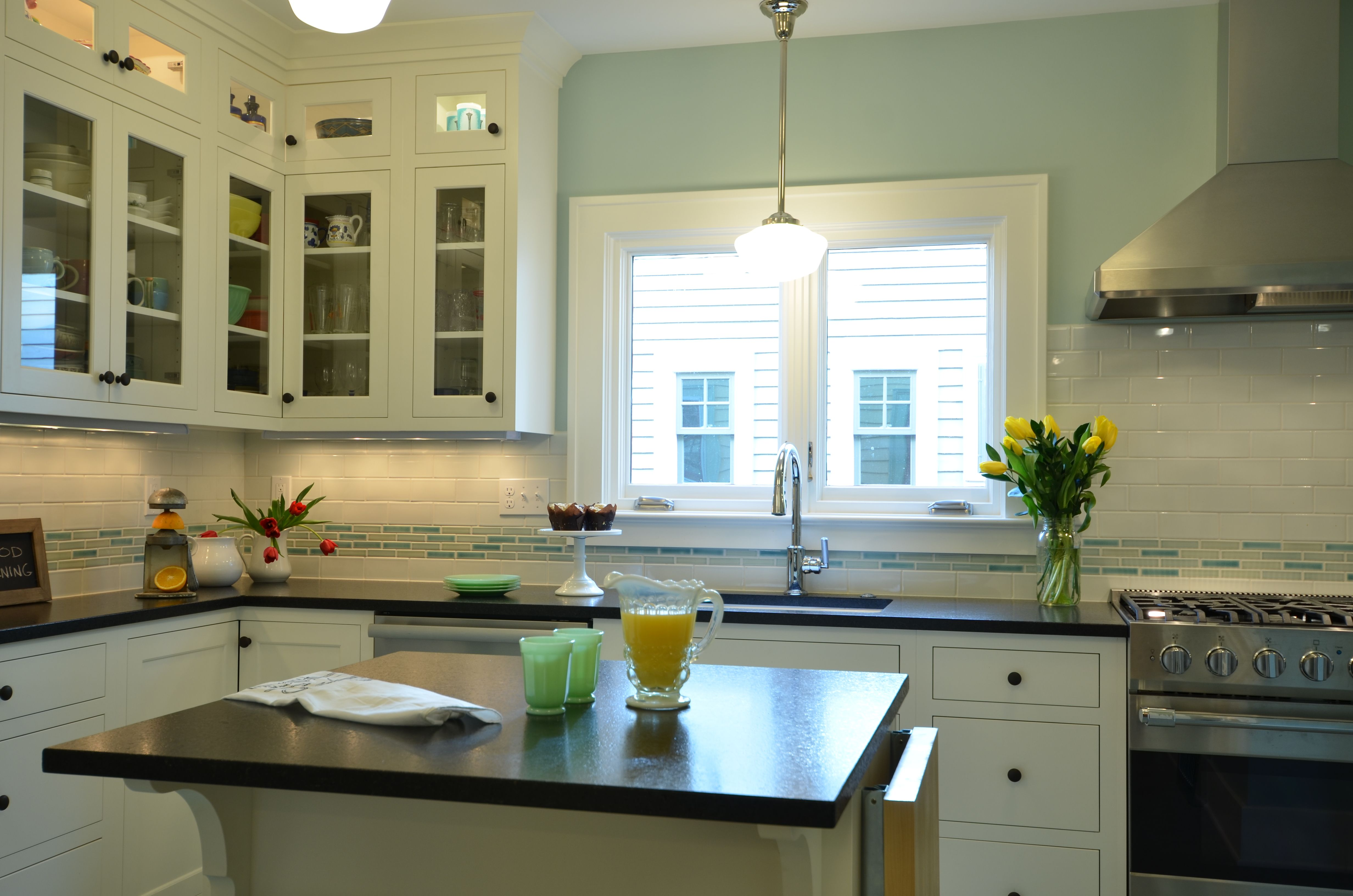 kitchen remodel white shaker cabinets glass door uppers