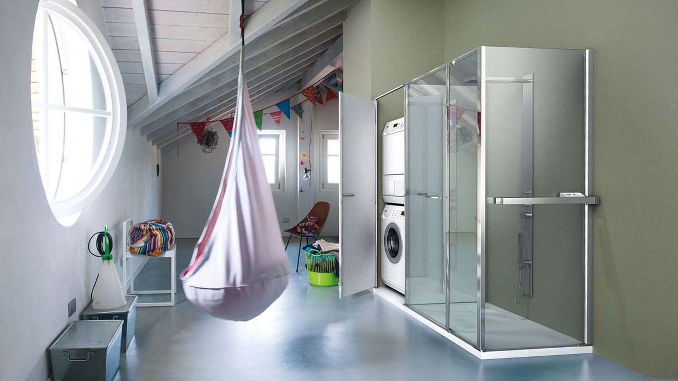 Vano Lavanderia In Bagno : Box #doccia con vetro #radiante e vano porta #lavatrice i box