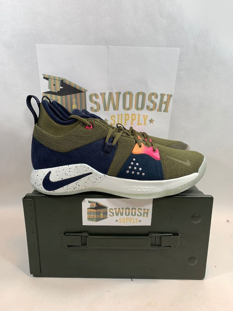 reputable site 95f13 7ca8b Nike PG 2 ACG Olive Canvas Paul George AJ2039 200 men s size 9 Basketball  Shoe  Nike  BasketballShoes