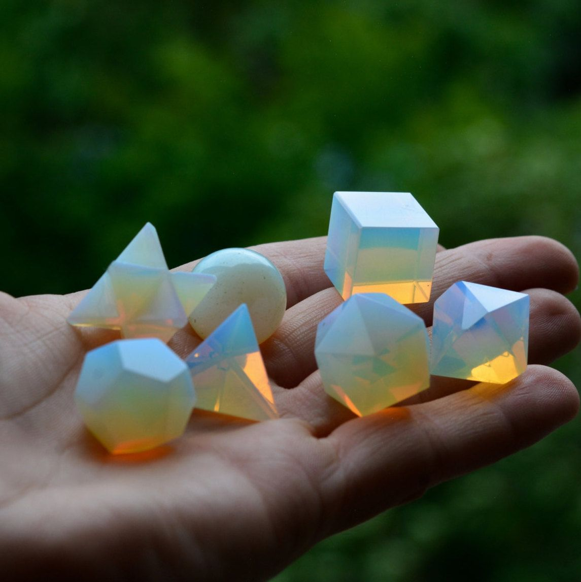 Fire Opalite Crystal Platonic Solids Sacred Geometry Set With Merkaba Star !! by PACIFICMINERALS on Etsy