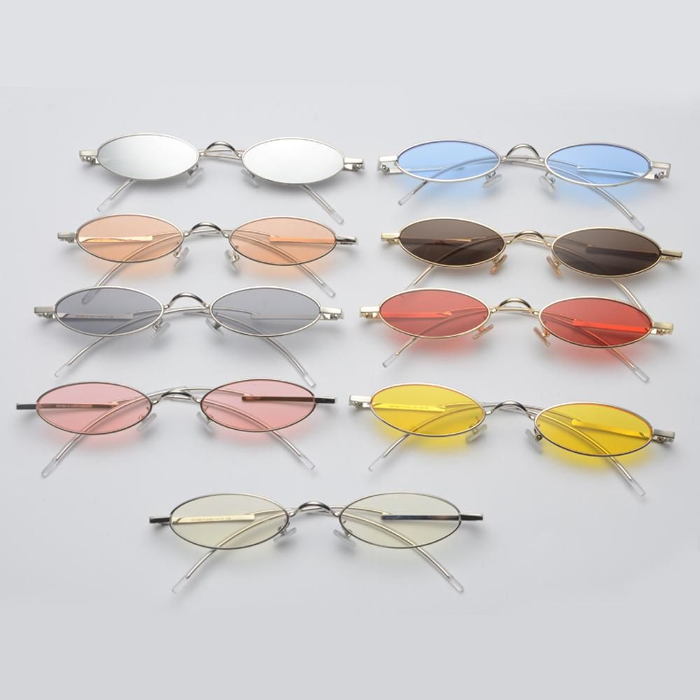25fc2f38d Peekaboo narrow sunglasses small frame metal candy color yellow red clear lens  oval sun glasses for men women unisex summer