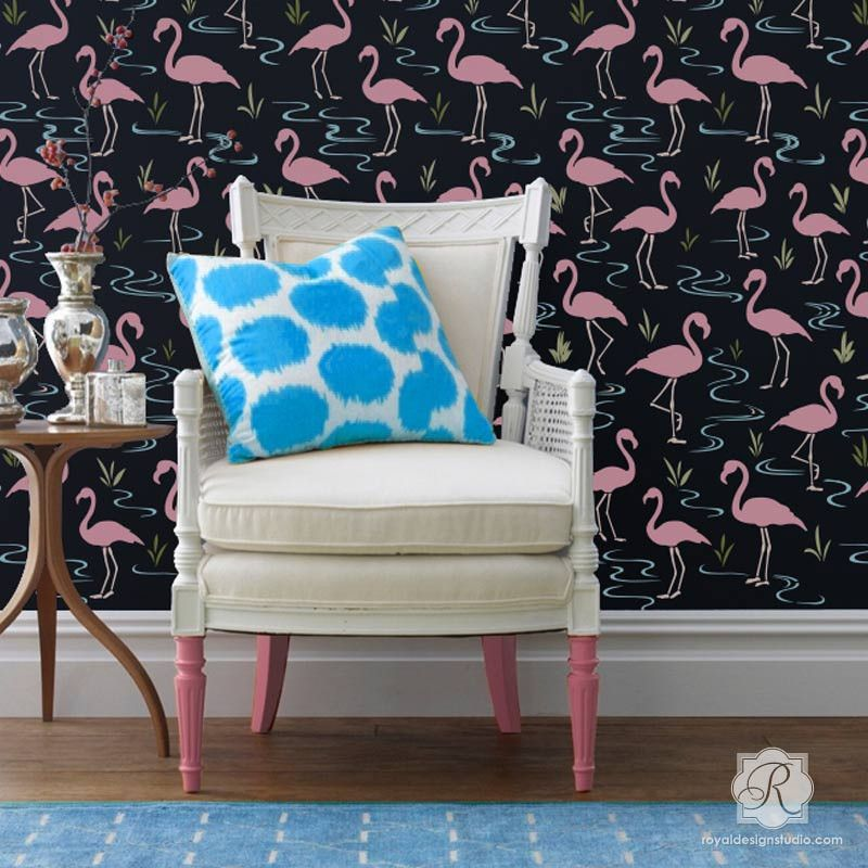Flamingo Lagoon Wall Stencil