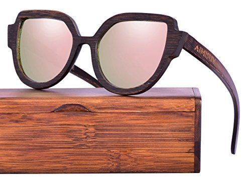 7d27f309cb7 Wood Polarized Sunglasses 100% UV Protection Bamboo Wooden Frame (Brown  Pink)
