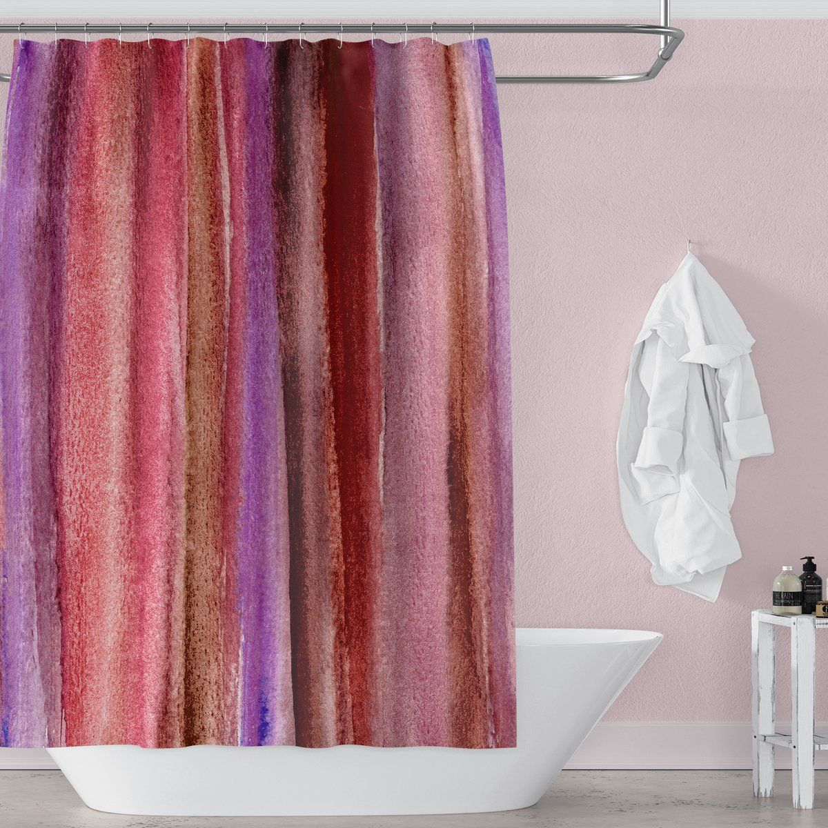 Burgundy Watercolor Stripes Abstract Art Shower Curtain Bathroom