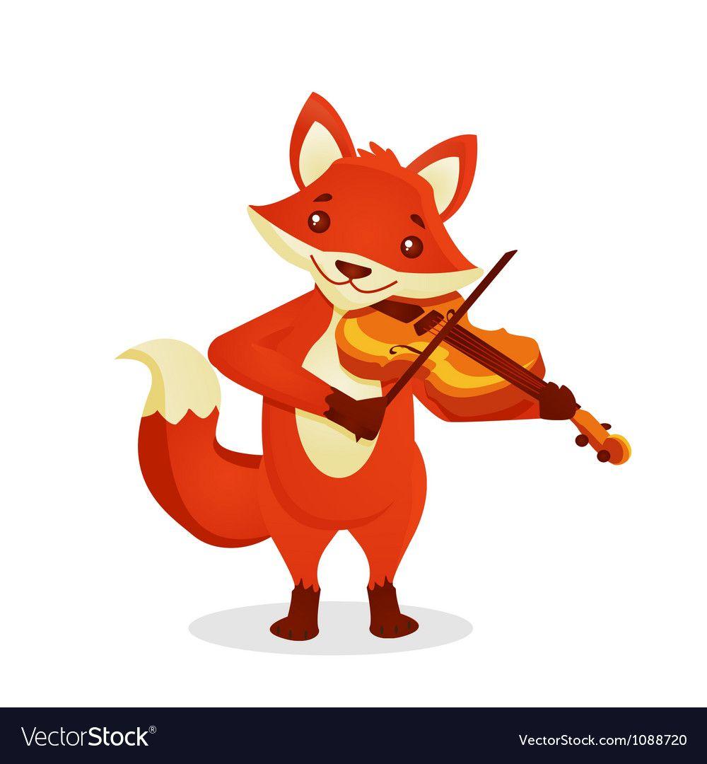 Musical Animals Royalty Free Vector Image Vectorstock Funny Fox Violin Poster Cute Cartoon