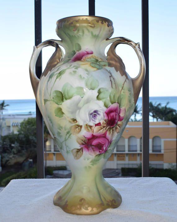 Rare Antique Nippon Royal Nishiki Hand Painted Rose Matte Vase