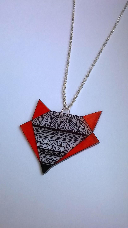Collier renard origami en plastique tranparent : Collier par magalily