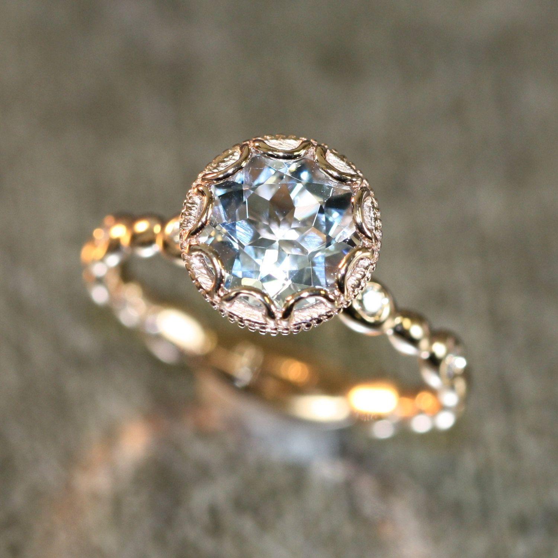 14k Rose Gold Floral Aquamarine Engagement Ring in Pebble Diamond