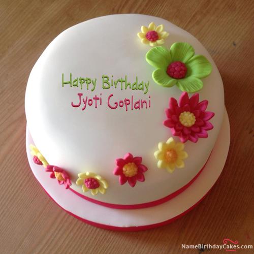 Colorful Flowers Birthday Cake With Name Jyoti Goplani Sejal