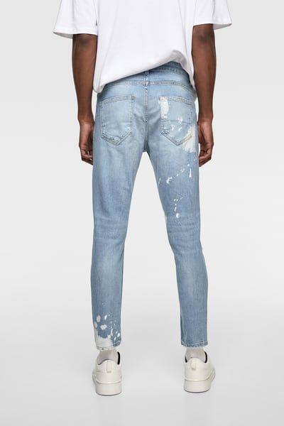 204acc2dcb756 ZARA - Male - Drip effect skinny jeans - Light blue - 30 in 2019 ...