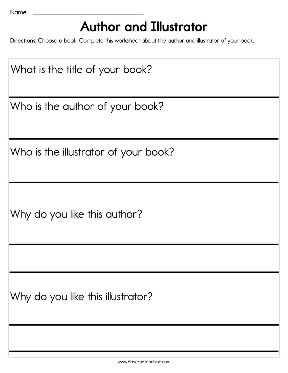 Author and Illustrator Worksheet   Have fun teaching [ 1294 x 1000 Pixel ]