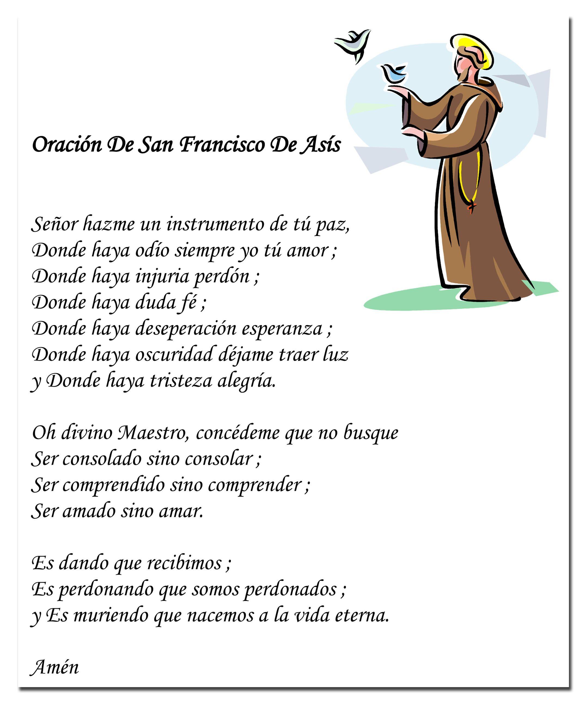 La oración de San Francisco de Asís | Oracion de san francisco ...