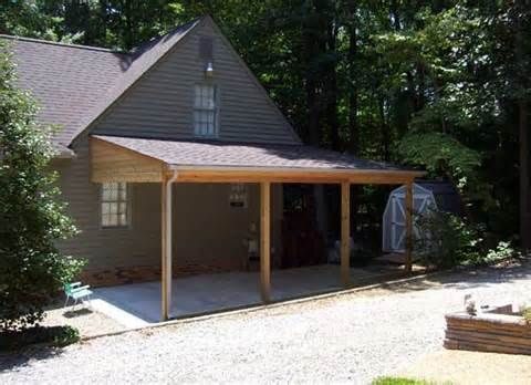 Angled Roof Attached Carport To House Carport Patio Carport Designs Pergola Carport