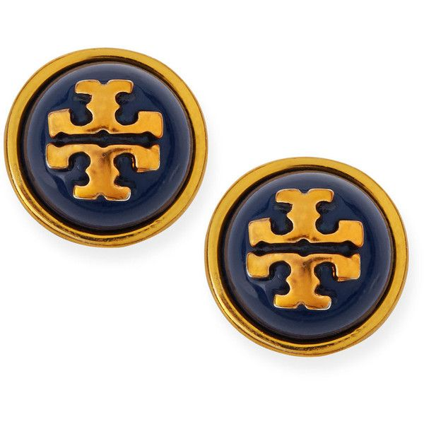 Tory Burch Melodie Logo Stud Dome Earrings ($66) ❤ liked on Polyvore featuring jewelry, earrings, navy, navy jewelry, tory burch, studded jewelry, stud earrings and post earrings