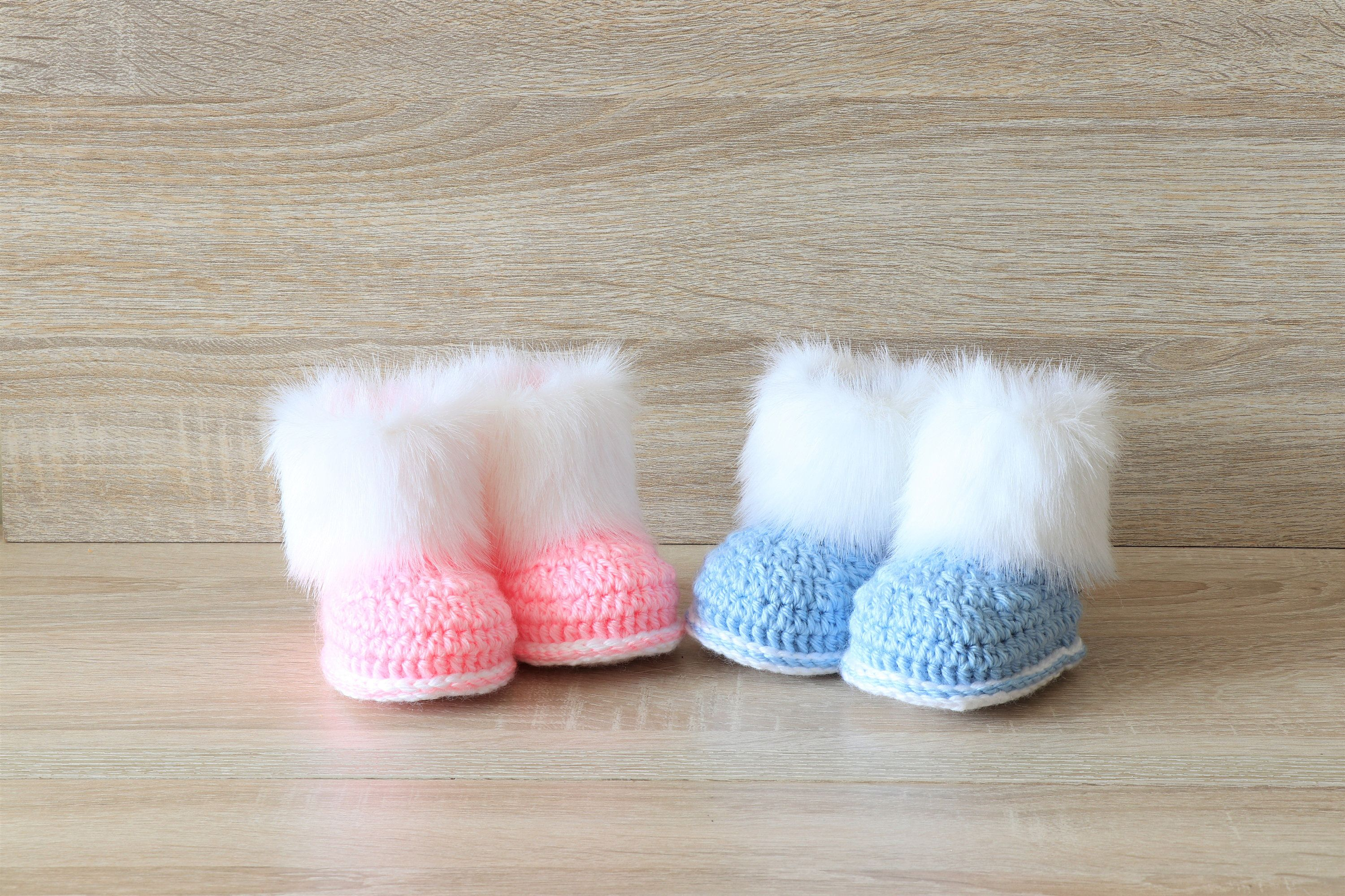 67757351b502b Gender reveal booties - Twin baby shoes- Faux fur booties - Boy and ...