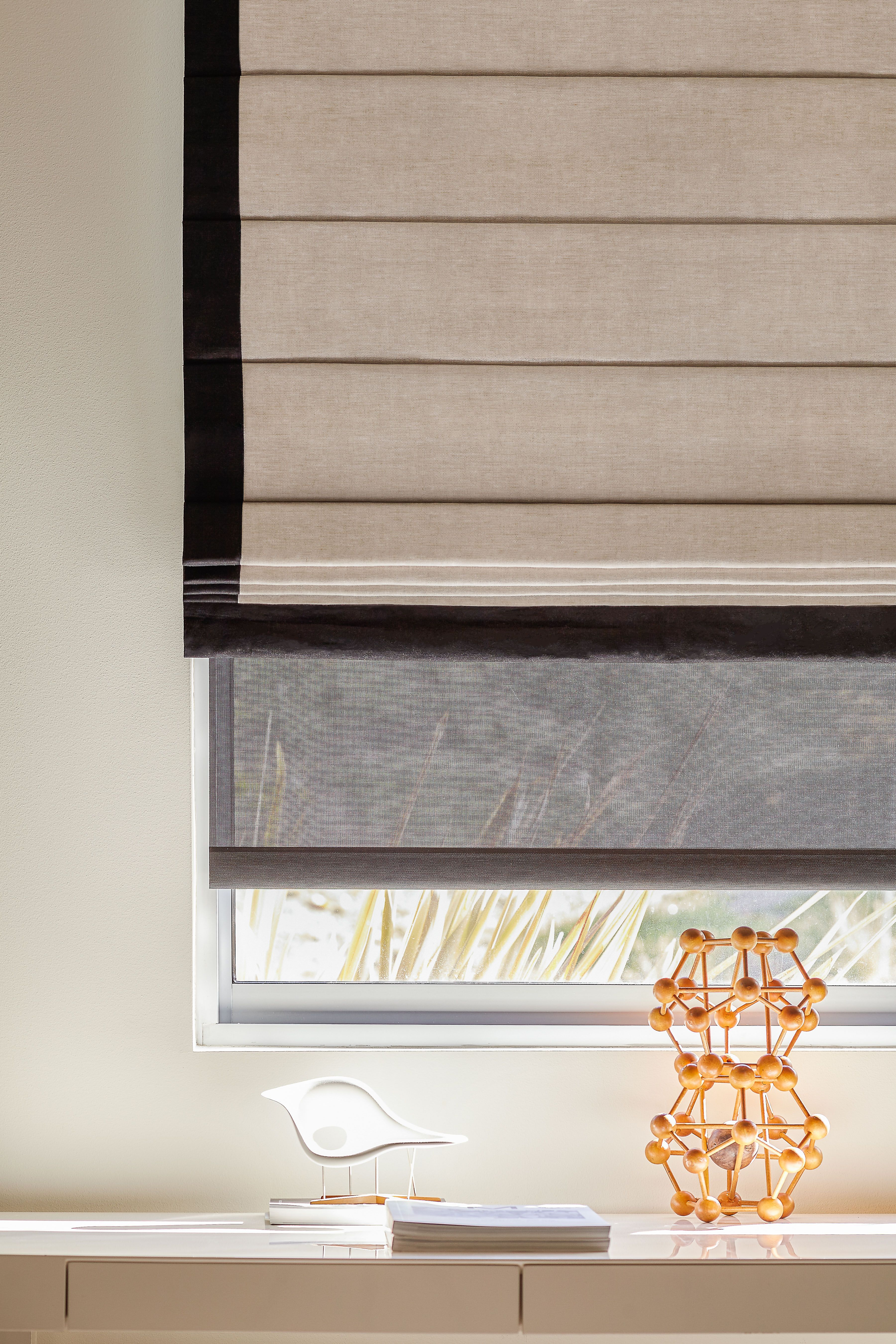 Cascade Roman Shades Look Beautiful With A Custom Border Shown In Linen Colors Oatmeal And Black The Shade Store Roman Shades Bathroom Blinds Blinds