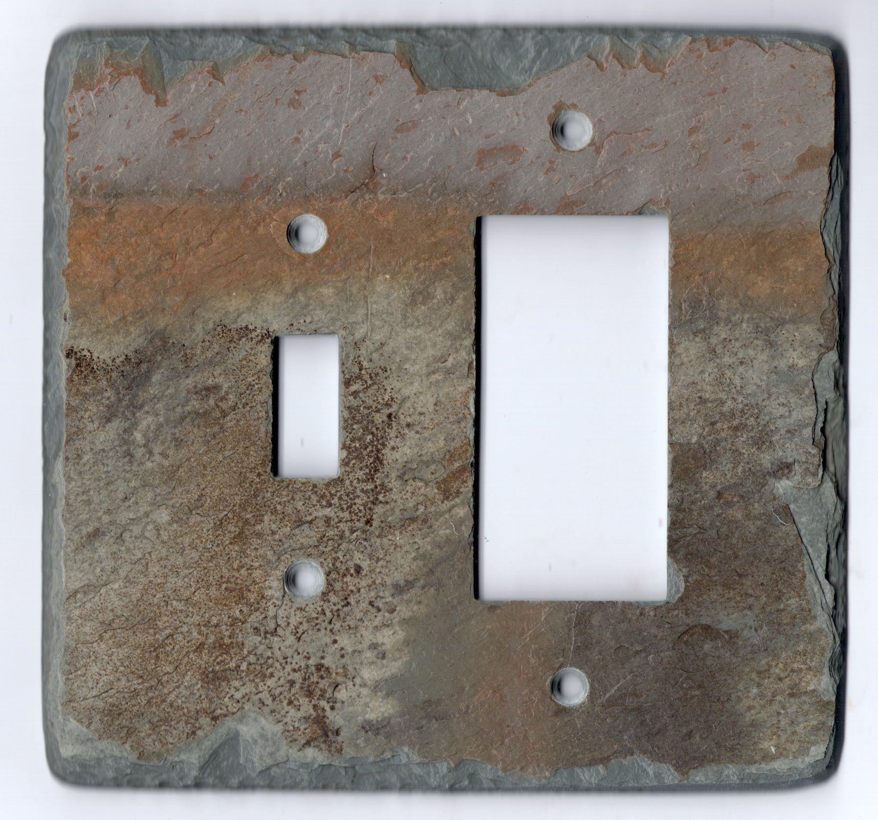 Slate single switch/gfi decora rocker combo switch plate