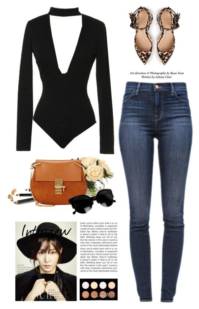 """Sassyselfie.com"" by yexyka ❤ liked on Polyvore featuring J.Crew, John-Richard, Bobbi Brown Cosmetics, J Brand, Chloé, NYX, jeans, sunglasses, trend and bodysuit"