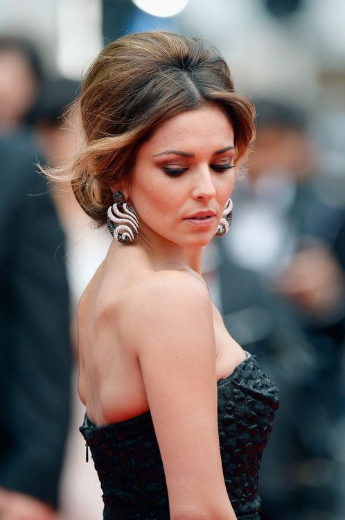 """Gorgeous Cheryl Cole with retro updo at the """"Foxcatcher"""" premiere during the 67th Annual Cannes Film Festival."""