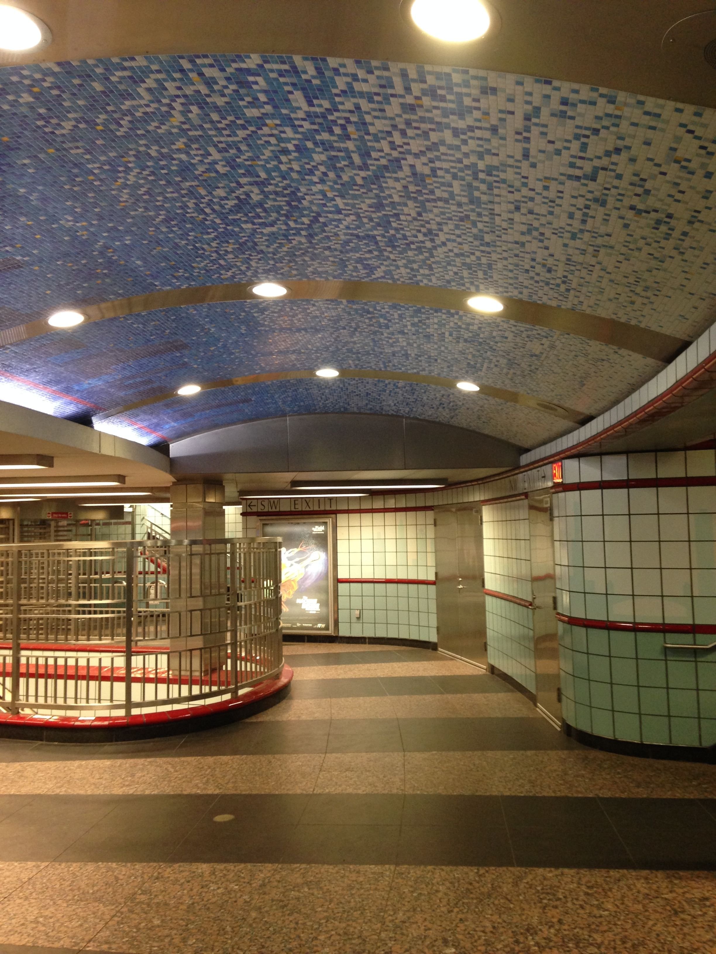 A cool subway station that has a vintage look about it.