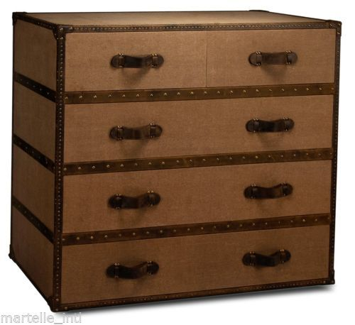 Trunk Style Chest Of Drawers Tan Canvas on Hardwood Sarried Leather New FrShip