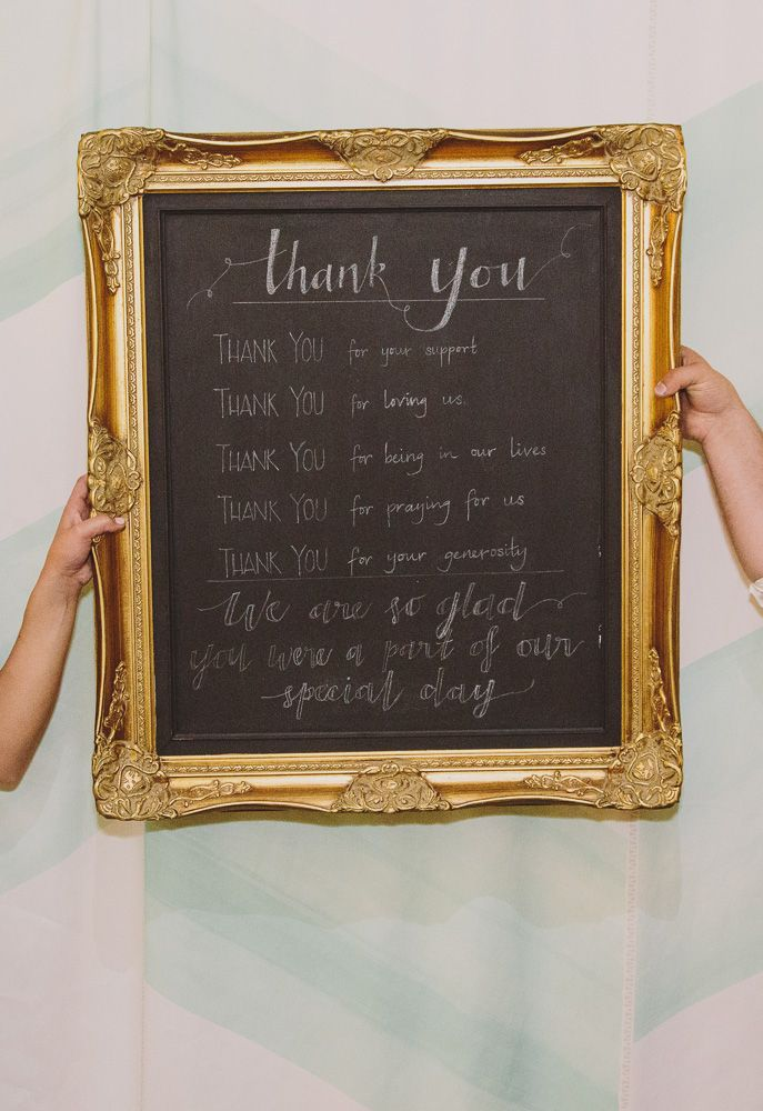 """Chalkboard """"Thank You for being part of our Special Day""""  Photo Blog: Jenny & Tim 