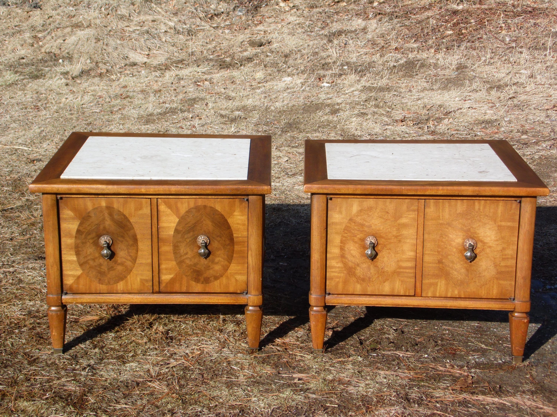 Best Pair Vintage Mid Century Modern Travertine Walnut End 640 x 480