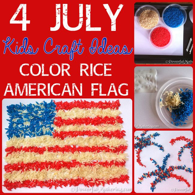 4 July Kids Craft Ideas - Color Rice American Flag and Fireworks!