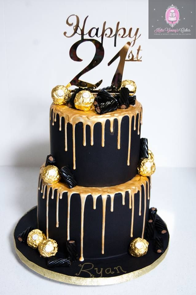 2 Tier Black And Gold Cake Tiered Cakes Birthday 21st Birthday Cakes 40th Birthday Cakes