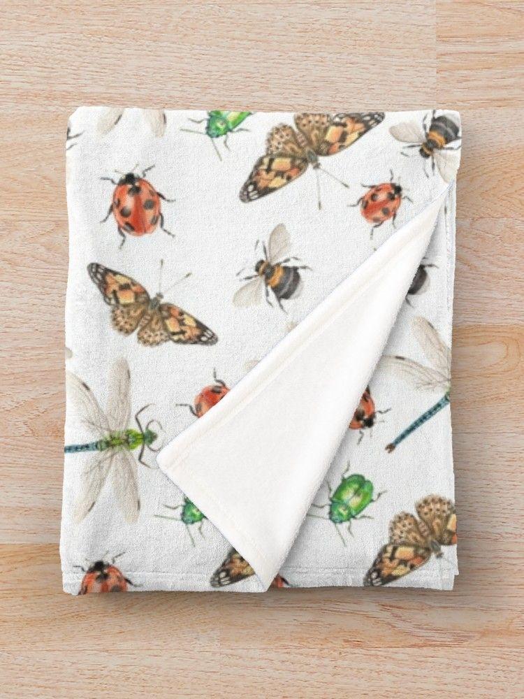 'British Bugs.' Throw Blanket by Theodora Gould Blanket