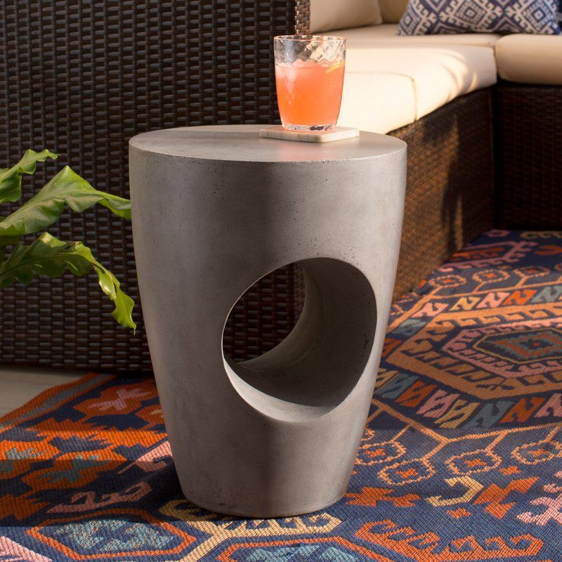 Aldham Stone/Concrete Side Table | Outdoor side table ...