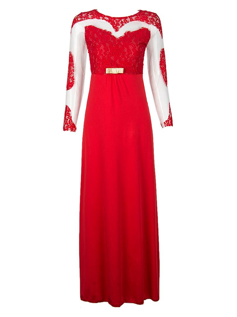 Shop red sheer lace panel bow detail long sleeve prom dress from