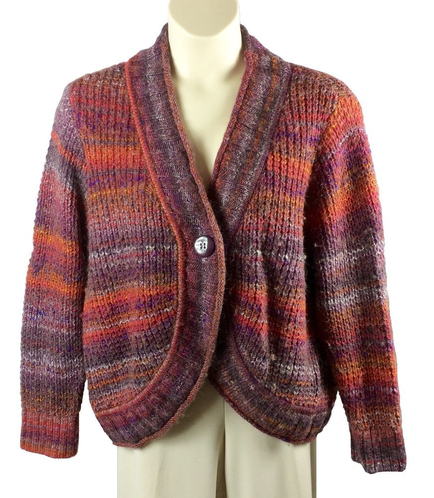 Womens CJ Banks Cardigan Sweater Plus Size 2X Rust Multi-Color ...