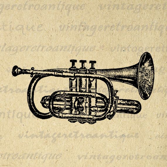Printable Digital Cornet Trumpet Graphic Music Instrument Download Band Image Vintage Clip Art Jpg Png Eps 18x18 HQ 300dpi No.1115 @ vintageretroantique.etsy.com