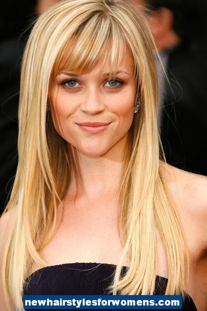 My style is all over the place i am eccentric and artistic but i 2013 hairstyles for women with long hair reese witherspoon sports long hair with layers framing the face and bangs just above the eyebrows solutioingenieria Image collections