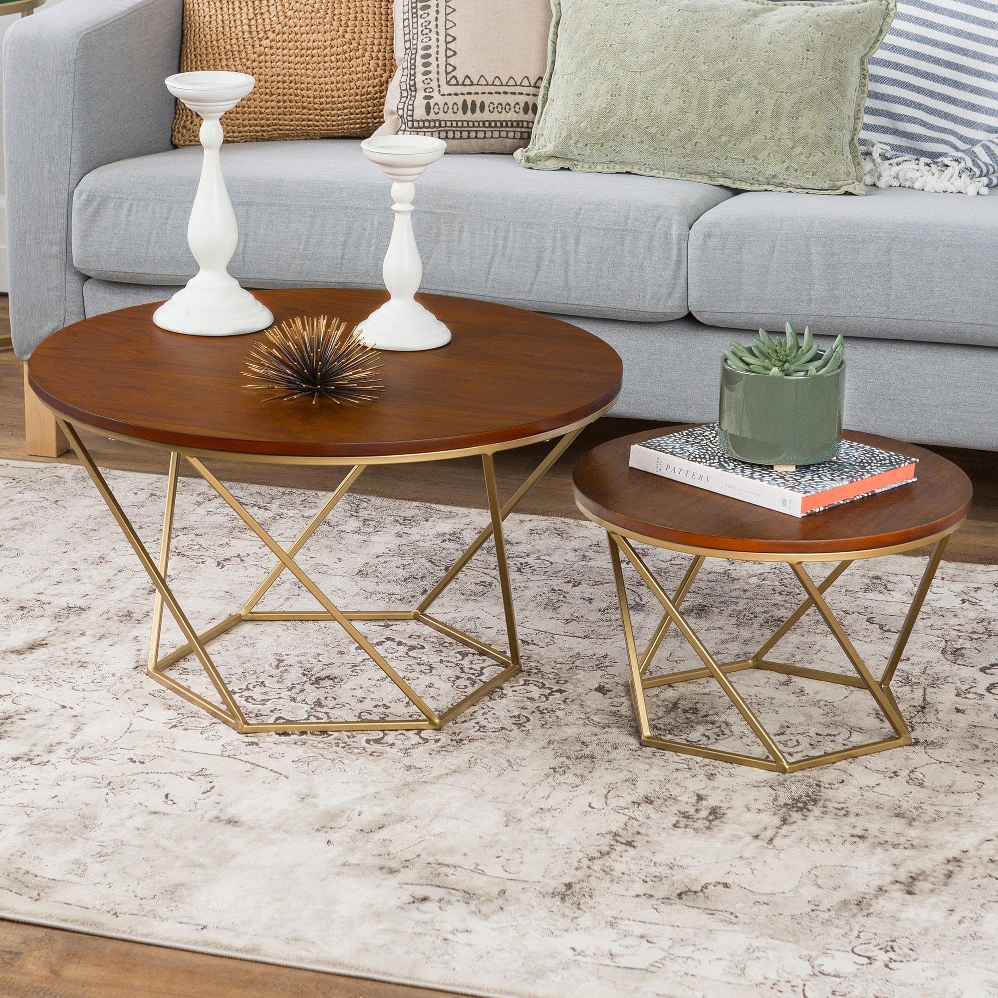 Geometric Wood Nesting Coffee Tables Walnut Overstockcom - Overstock wood coffee table