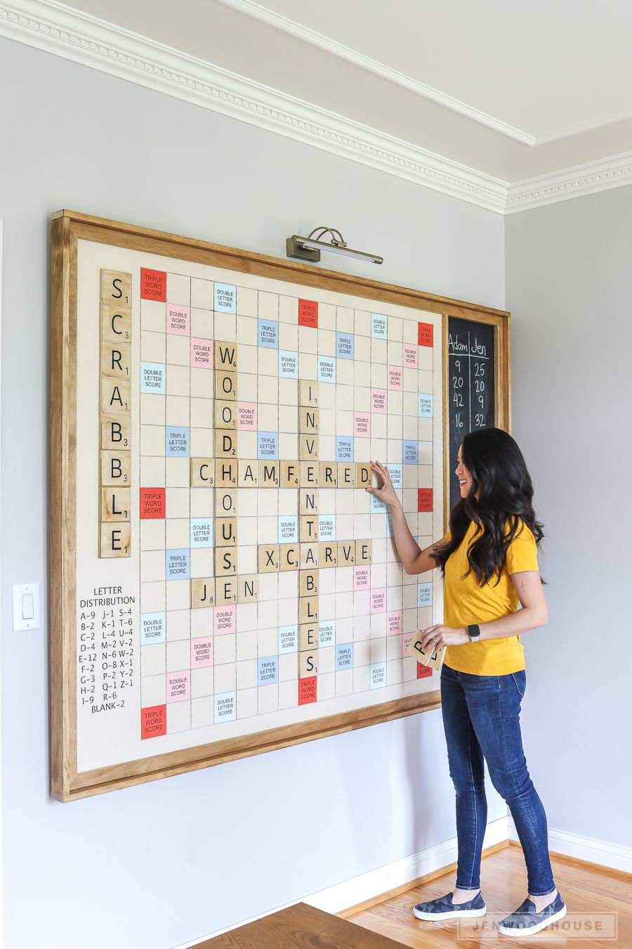 How To Make A DIY Giant Wall Scrabble Game Board is part of Scrabble game, Diy wall decor, Diy wall, Home diy, Scrabble board, Diy projects - Level up your game room with this DIY Giant WallMounted Scrabble Game Board  Full tutorial and plans on how to make this fun family game!