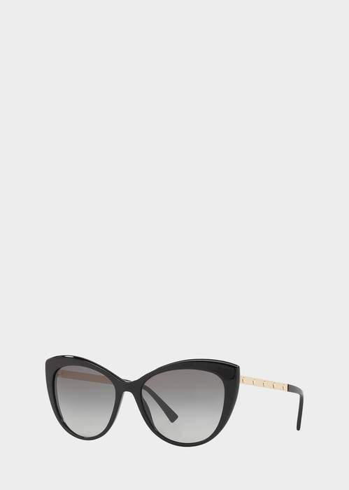 f706adec56e9 Versace Black Medusina Cat Eye Sunglasses