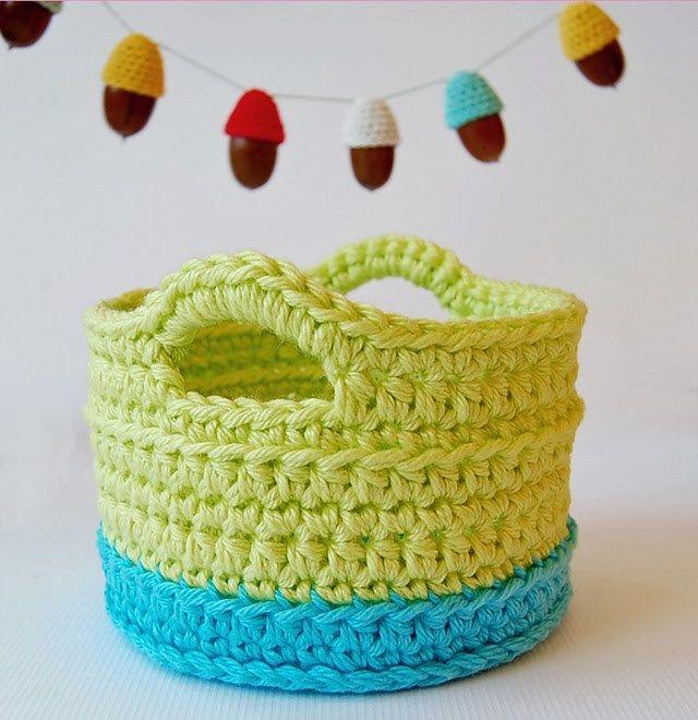 Crochet Basket With Handles Free Pattern Crochet Pinterest
